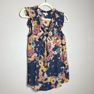 Anthropologie Odille floral pussybow tie neck top